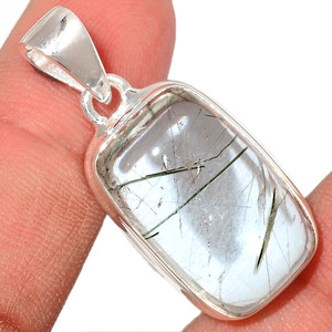 Green Rutile In Quartz 925 Sterling Silver Pendant  Jewelry AIQP110