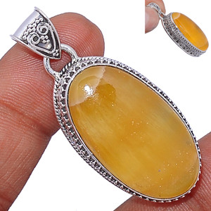 14g Yellow Lace Agate 925 Sterling Silver Pendant  Jewelry YLAP52