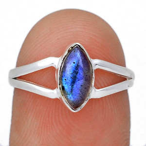Blue Fire Labradorite 925 Sterling Silver Ring Jewelry s.7.5 BFLR2088