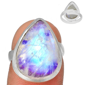 Adjustable Ring - Blue Fire Moonstone 925 Silver Ring Jewelry s.5.5 BFMR3920