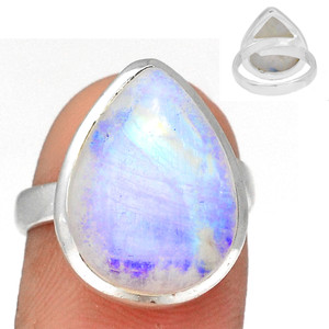 Adjustable Ring - Blue Fire Moonstone 925 Silver Ring Jewelry s.7 BFMR3923