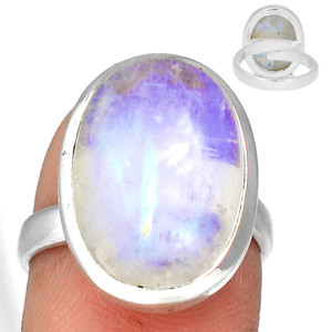 Adjustable Ring - Blue Fire Moonstone 925 Silver Ring Jewelry s.7.5 BFMR3926