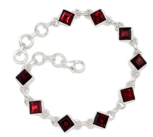 14g Faceted Garnet 925 Sterling Silver Bracelet Jewelry GRFB140