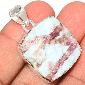 Pink Tourmaline In Quartz 925 Sterling Silver Pendant  Jewelry PTQP228