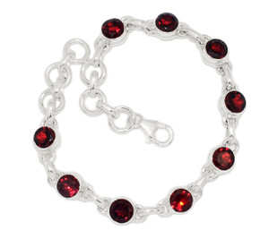 12g Faceted Garnet 925 Sterling Silver Bracelet Jewelry GRFB132