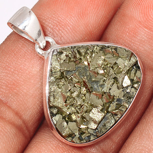 Mexican Pyrite Druzy 925 Sterling Silver Pendant  Jewelry PYDP182