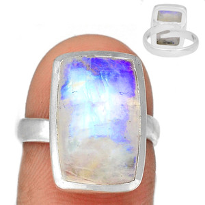 Adjustable Ring - Blue Fire Moonstone 925 Silver Ring Jewelry s.6.5 BFMR3929