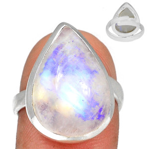 Adjustable Ring - Blue Fire Moonstone 925 Silver Ring Jewelry s.7.5 BFMR3937