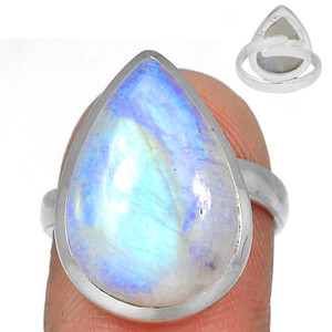 Adjustable Ring - Blue Fire Moonstone 925 Silver Ring Jewelry s.7 BFMR3939