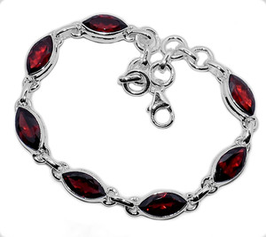 14g Faceted Garnet 925 Sterling Silver Bracelet Jewelry GRFB148