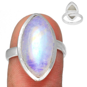 Adjustable Ring - Blue Fire Moonstone 925 Silver Ring Jewelry s.7.5 BFMR3925