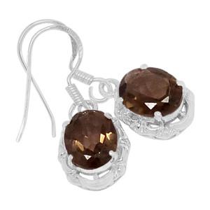 Smokey Quartz 925 Sterling Silver Earrings Jewelry E2136S