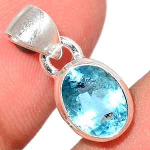Faceted Aquamarine 925 Sterling Silver Pendant  Jewelry AQFP1026