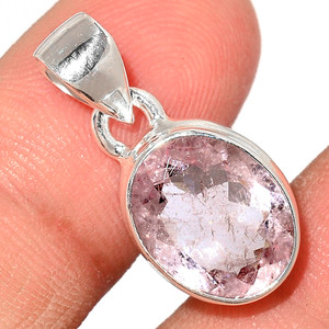 Faceted Morganite 925 Sterling Silver Pendant  Jewelry MGFP174