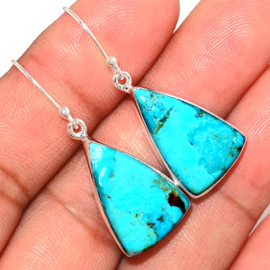 Genuine Blue Mohave Turquoise 925 Sterling Silver Earrings Jewelry BMTE1241
