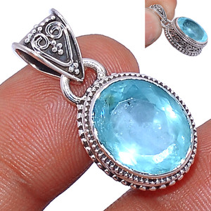 Faceted Aquamarine 925 Sterling Silver Pendant  Jewelry AQFP944