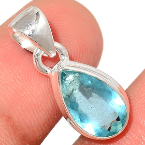 Faceted Aquamarine 925 Sterling Silver Pendant  Jewelry AQFP1005