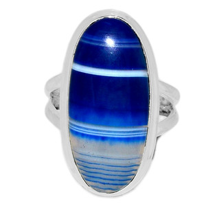 Blue Botswana Agate 925 Sterling Silver Ring Jewelry s.7 BSAR780