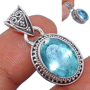 Faceted Aquamarine 925 Sterling Silver Pendant  Jewelry AQFP956