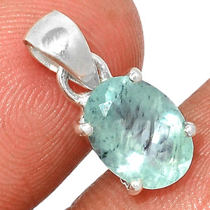 Faceted Aquamarine 925 Sterling Silver Pendant  Jewelry AQFP1091