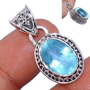 Faceted Aquamarine 925 Sterling Silver Pendant  Jewelry AQFP946