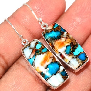 Spiny Oyster Arizona Turquoise 925 Sterling Silver Earrings Jewelry SOTE404