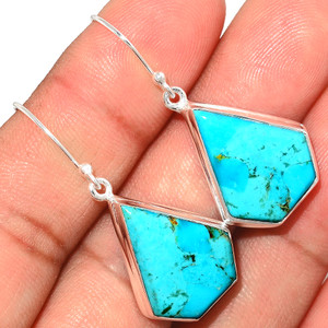 Beautiful Blue Mohave Turquoise 925 Sterling Silver Earrings Jewelry BMTE1247