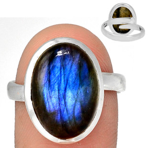 Adjustable Ring - Blue Fire Labradorite 925 Silver Ring Jewelry s.10 BFLR2112