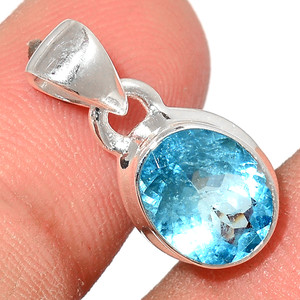 Faceted Aquamarine 925 Sterling Silver Pendant  Jewelry AQFP982