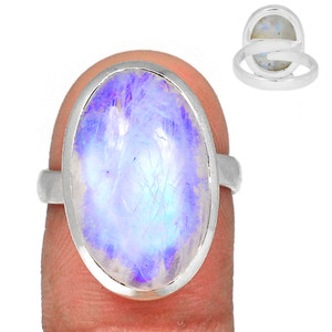 Adjustable Ring - Blue Fire Moonstone 925 Silver Ring Jewelry s.7.5 BFMR3936