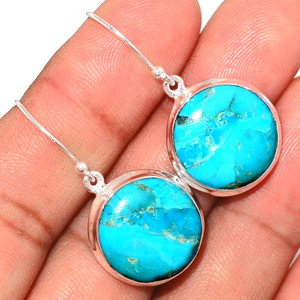 Genuine Blue Mohave Turquoise 925 Sterling Silver Earrings Jewelry BMTE1260