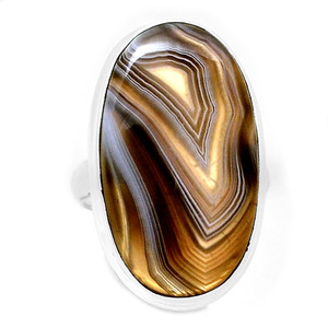 Brown Botswana Agate 925 Sterling Silver Ring Jewelry s.9 BSAR717