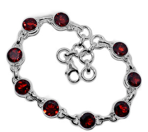 14g Faceted Garnet 925 Sterling Silver Bracelet Jewelry GRFB147