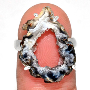 Geode Druzy 925 Sterling Silver Ring Jewelry s.5.5 GODR329