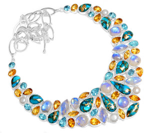 90g Blue Copper Turquoise 925 Sterling Silver Cluster Necklace Jewelry RNE1683