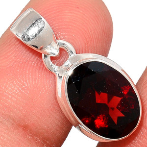 Faceted Garnet 925 Sterling Silver Pendant  Jewelry GNFP260