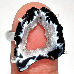 Geode Druzy 925 Sterling Silver Ring Jewelry s.9 GODR316