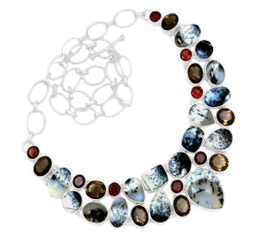 74g Merlinite Dendritic Opal 925 Silver Cluster Necklace Jewelry RNE1689