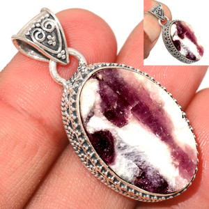 12g Pink Tourmaline in Quartz 925 Sterling Silver Pendant  Jewelry PTQP292