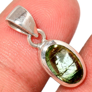 Green Tourmaline Cab 925 Sterling Silver Pendant  Jewelry TUCP76