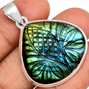 15g Carved Multi Fire Labradorite 925 Sterling Silver Pendant  Jewelry CLBP327