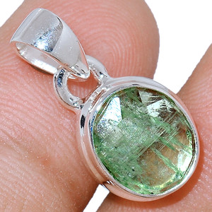 Faceted Green Kyanite 925 Sterling Silver Pendant  Jewelry GKFP52