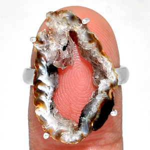 Geode Druzy 925 Sterling Silver Ring Jewelry s.7.5 GODR308