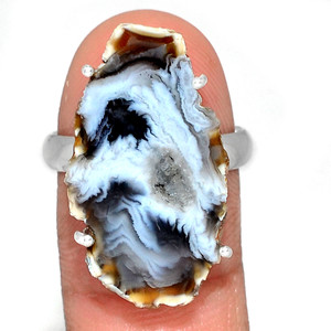 Geode Druzy 925 Sterling Silver Ring Jewelry s.9 GODR311