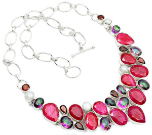 72g Ruby, Rainbow Topaz & Moonstone 925 Silver Cluster Necklace Jewelry RNE1521