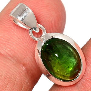 Green Tourmaline Cab 925 Sterling Silver Pendant  Jewelry TUCP67