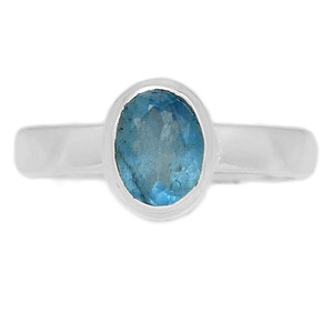 Faceted Aquamarine 925 Sterling Silver Ring Jewelry s.8 AQFR1312
