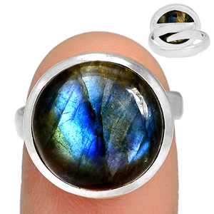Adjustable Ring - Multi Fire Labradorite 925 Silver Ring Jewelry s.7.5 MFLR559
