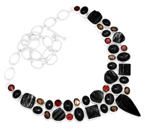 94g Black Tourmaline Rough 925 Sterling Silver Cluster Necklace Jewelry RNE1694