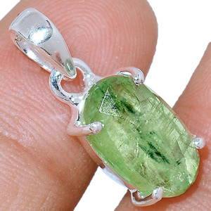 Faceted Green Kyanite 925 Sterling Silver Pendant  Jewelry GKFP47